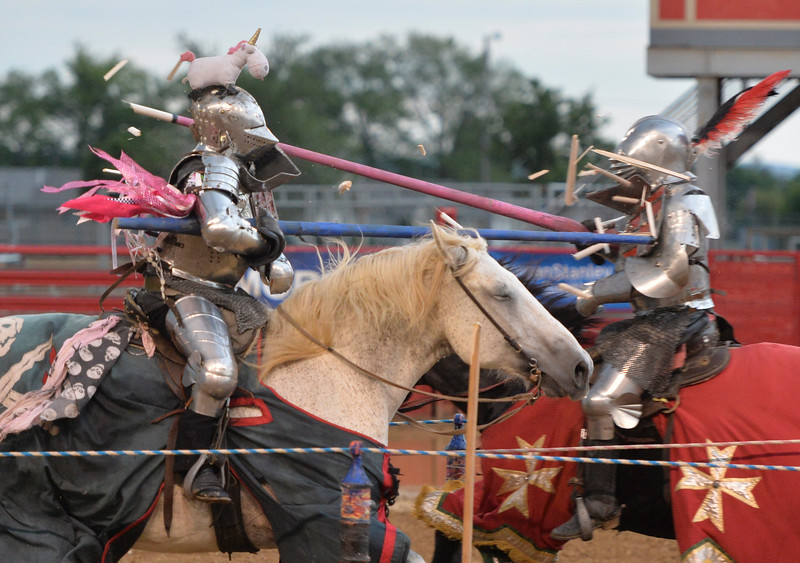 Justin Sheely | The Sheridan Press<br /> Knights of Mayhem performers joust during the Tournament of Knights at the Sheridan County Fairgrounds Saturday, July 28, 2018.