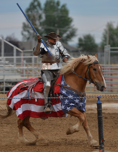 Justin Sheely | The Sheridan Press<br /> Knights of Mayhem founder and captain Charlie Andrews performs during the Tournament of Knights at the Sheridan County Fairgrounds Saturday, July 28, 2018.