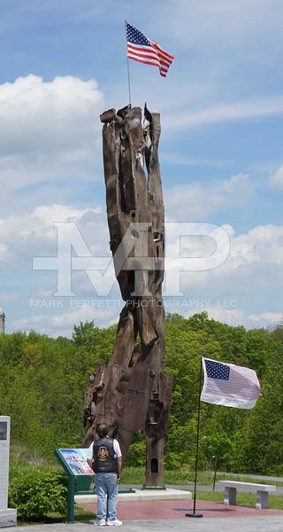 Paul Lavigna member of Post 701 and  son of Korean war vet Jim Lavigna looks at the 911 Memorial