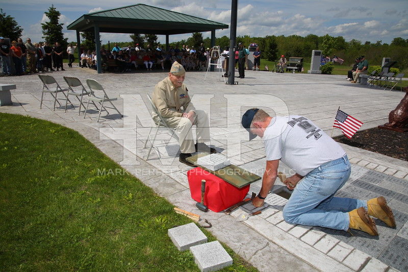 Paver stone dedications- Paver stone placed in honor of Mr. John Miller W W II veteran; placed by Albert Staley assisted by Mr. Miller and paver stone dedicated by the Amsterdam South Side Veterans Association