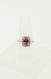 14K Rose Gold Ring w/ 1.92ct Pink Tourmaline & .65cttw Diamonds. $1,525.00