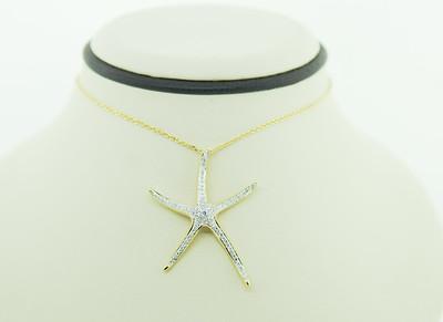 "14KYG Starfish Necklace w/ .46cttw Diamonds, 18"" Chain. $935.00"
