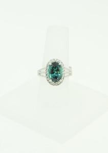 14KWG Ring w/ 4.05ct Green Tourmaline & .75cttw Diamonds. $3,550.00