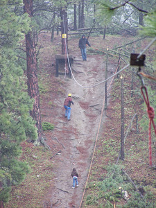 Climbing the zipline hill.
