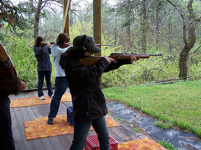 Ready, Aim, Fire.....Diedra, Katie, and Amy at rifle range.