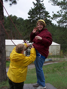 Now that's fun...Julie on zipline.