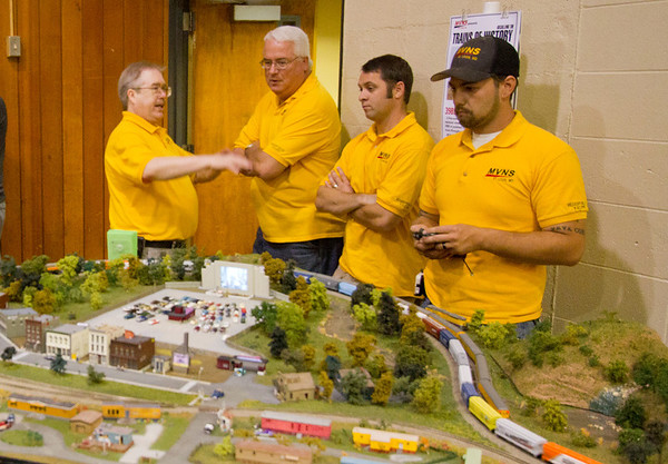 "The ""yellow shirts"" are member of the Mississippi Valley N Scalers, hosts of The Greater St. Louis Metro Area Model Train Show."