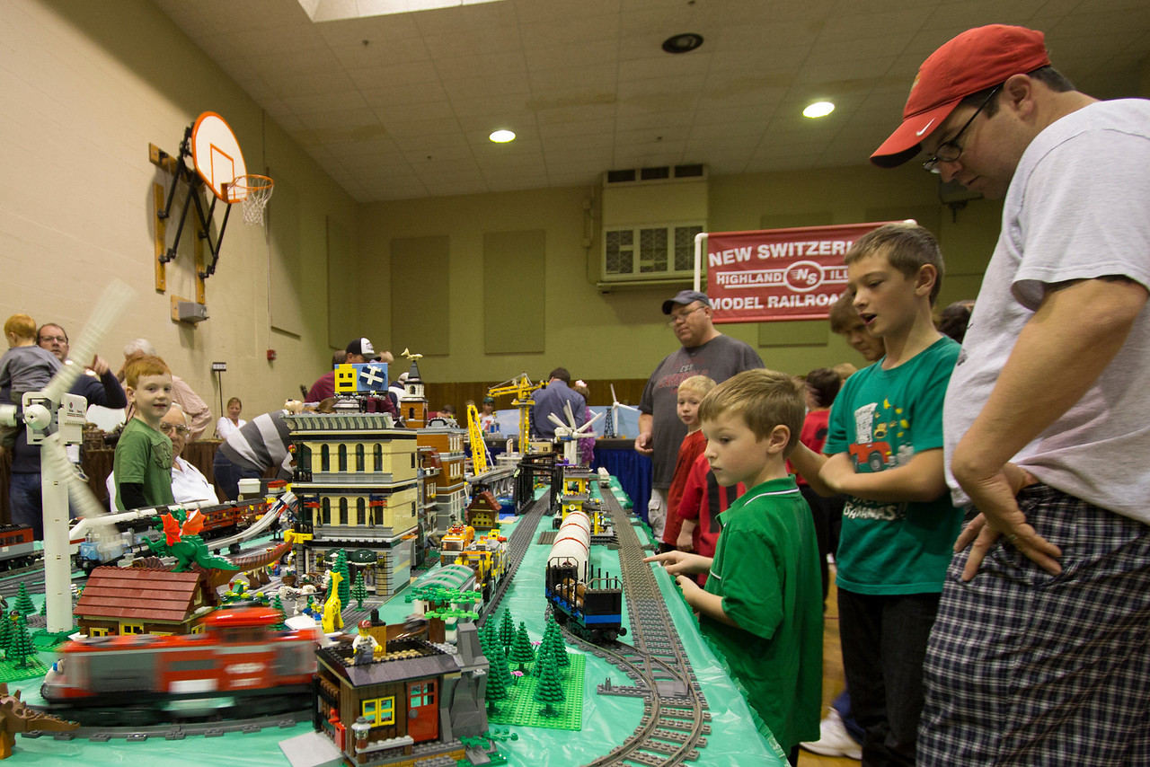 I could have taken a dozen images of this layout made entirely of LEGO blocks... But instead I have only one.  Each building in this wonderful layout is made from over 3000 individual blocks; each bridge at least 800.  The layout includes a monorail train as well as at least two other operating trains.  This is yet another kid-pleasing layout at the Greater St. Louis Metro Area Model Train Show held in October every year.  In fact, this photo shows perhaps the least number of kids I've seen clamoring around it.