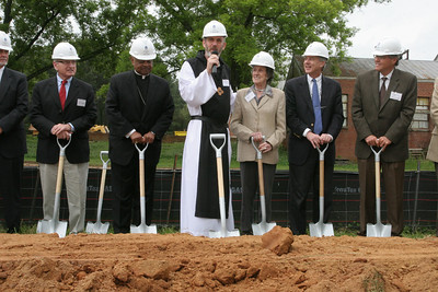 Abbot Francis Michael Stiteler, OCSO, addresses the crowd before he joins Vince Dooley, co-chair of the Monastery Capital Campaign Leadership Committee, Archbishop Wilton D. Gregory, benefactor Olga C. de Goizueta, Conyers Mayor Randy Mills and Kelly Jordan, chair of the Arabia Mountain Heritage Area Alliance, for the ceremonial groundbreaking.