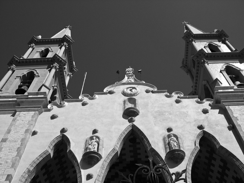 Traditional cathedral in Mazatlan - Mexico - B&W