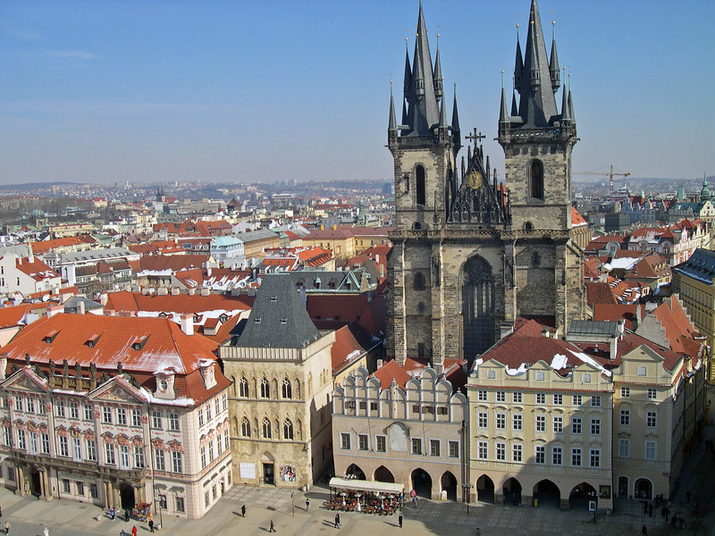 View from above the town square looking at Tyn Cathedral, Prague, Czec Republic