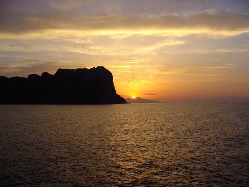 Sun dips below the horizion off isle of Capri - Italy