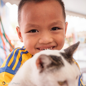 Smiling Boy and Cat at Big Buddha