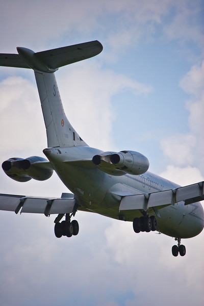 """RAF 101 Sqn Super VC10 C Mk I (K) tanker XV101 """"S""""  """"Lanoe Hawker VC"""" on finals into Brize Norton.<br /> <br /> The C Mk 1 was the first VC10 type in service with the RAF but was the last type to be equipped with an AAR capability. It was the least extensive conversion, as only two wing refuelling points were added to the airframe.<br /> <br /> The first conversion (XV101) flew in June 1992.<br /> <br /> •Engines: Four RR Conway turbofans<br /> •Thrust: 20,000lbs<br /> •Max speed: 530kts<br /> •Length: 48.36m<br /> •Max altitude: 43,000ft<br /> •Span: 44.55m<br /> •Aircrew: 4"""