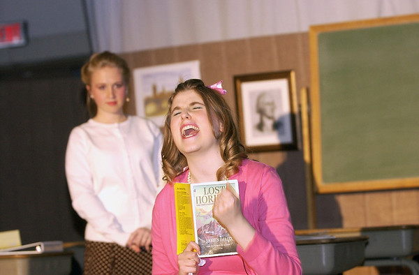 "Record-Eagle/Garret Leiva<br /> Courtney Jurica, as the high maintenance and vain, Rhonda, gives an over-the-top reading for lead role in the school play in a scene from the Traverse City Christian High School production of ""Our Miss Brooks."""