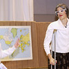 """Record-Eagle/Garret Leiva<br /> Debby Fay, as hard-working high school English teacher Miss Brooks, talks with school librarian and best friend Miss Finch, played by Lindsay Kostrzewa, in a scene from the Traverse City Christian High School production of """"Our Miss Brooks."""""""