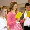"""Record-Eagle/Garret Leiva<br /> Debby Fay, as Miss Brooks, informs the girls she has plenty of tissues on hand for tears after they don't get their part in the school play in a scene from the Traverse City Christian High School production of """"Our Miss Brooks."""""""