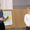 "Record-Eagle/Garret Leiva<br /> Jesse Gagnon, as Coach Hugo Longacre, shares his keen interest in sailing with Miss Brooks, played by Debby Fay, in a scene from the Traverse City Christian High School production of ""Our Miss Brooks."""