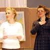 """Record-Eagle/Garret Leiva<br /> Emily Raetz, as high-strung school band teacher Miss Audubon, accuses Miss Brooks, played by Debby Fay, of stealing the school play away from her in a scene from the Traverse City Christian High School production of """"Our Miss Brooks."""""""
