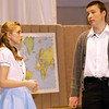 """Record-Eagle/Garret Leiva<br /> Alex Heald, as star basketball player, Ted, thanks Kelley Ritsema, in the role of Jane, for the extra helpings of coleslaw in the school lunch line in a scene from the Traverse City Christian High School production of """"Our Miss Brooks."""""""