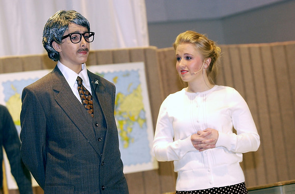 """Record-Eagle/Garret Leiva<br /> Laura Snyder, in the role of Principal Wadsworth, wants Miss Brooks, played by Debby Fay, to take over the school play from the band teacher in a scene from the Traverse City Christian High School production of """"Our Miss Brooks."""""""