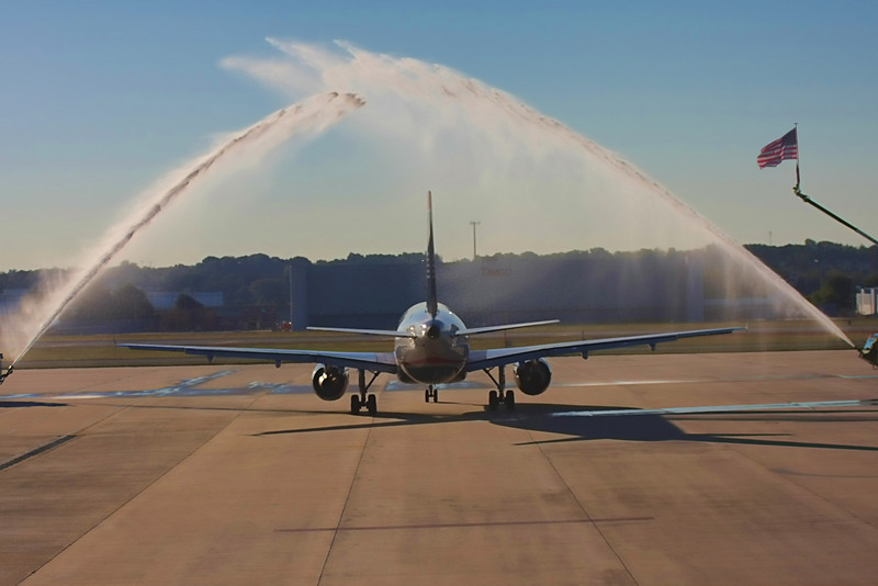 The Triad Flight of Honor #7, leaving the Greensboro airport under a Water Cannon Salute.