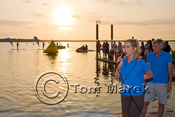 Maggie Sullivan of the Danskin Triathlon Series makes final announcements before the race begins.