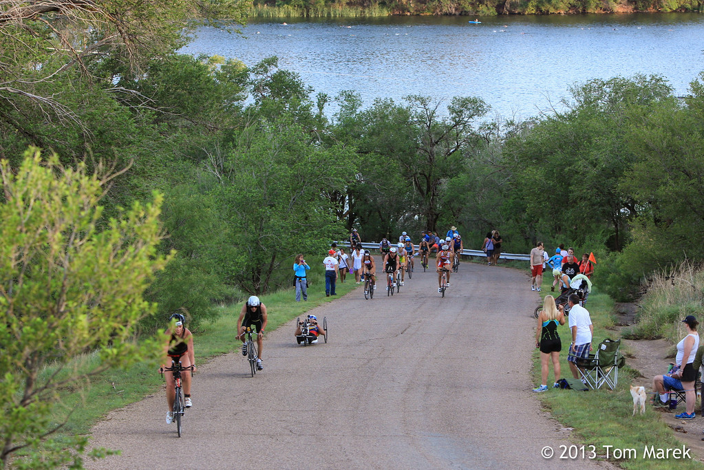 After the swim, athletes begin the bike portion of the triathlon with a steep climb out of the transition area.