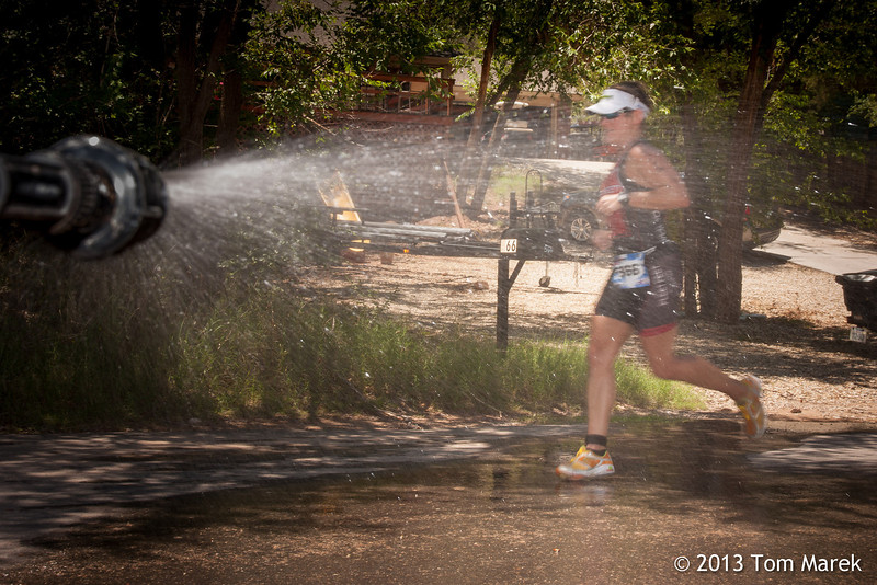 A water spray was a welcome sight for many athletes starting to suffer from the afternoon heat.