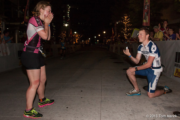 John McClellan (Uniontown, OH) surprised girlfriend Annie Szendrey (N. Canton, OH) with an engagement ring on approach to the finish line.