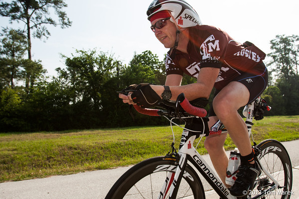 Mark Hill (The Woodlands, TX) starting out on the 112 mile bike course.