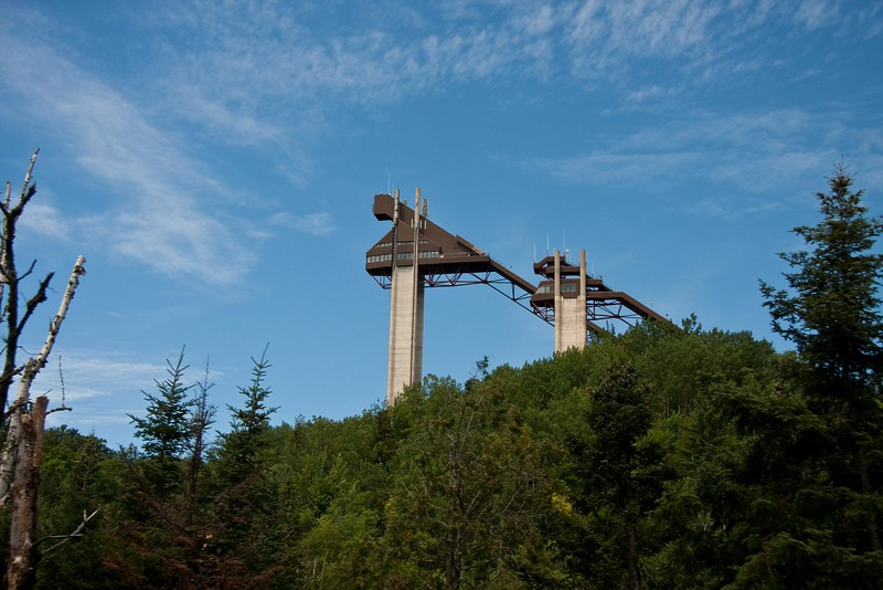 1980 Olympic ski jump towers from the bike course.