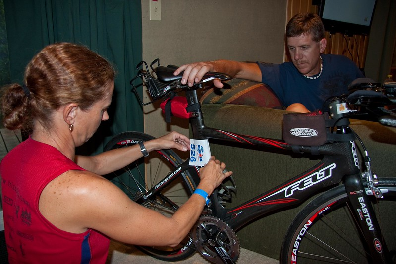 Prepping bikes and transition bags for race morning.