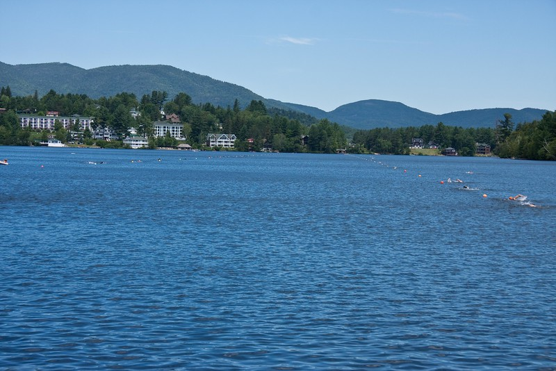 A shot of the 1.2 mile swim course on Mirror Lake. They will swim two loops.