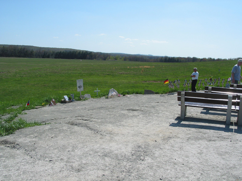 Flight 93 temporary memorial, Shanksville, PA. The impact site is out in the field, marked by an American flag (look at one of the higher-res versions of the photo to see it).