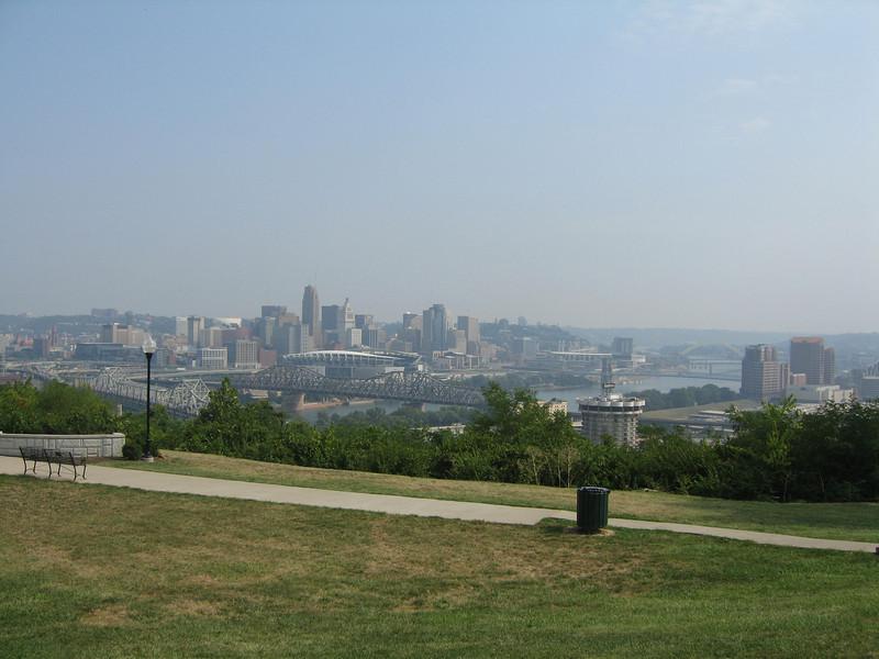 View of downtown Cincinnati from Divou Park.