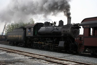Number 475 pulloing out the regular Strasburg train.
