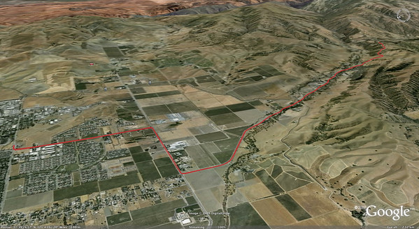 DelValle Ride in Livermore; 13.75 miles, 875ft ascent; this is (about half way in, after the 90 deg left turn) the course of the Cycletrons' annual time trial.