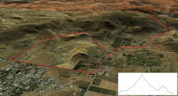 Tesla Road Climb and Cross Road loop ride in Livermore hills.  The cluster of building in the lower left corner is the Livermore Lab. 17.5 miles, 1,405 ft elevation gain.