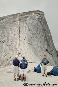 This is the famous cable route up Half Dome.  When we came it was a lively scene, jammed with people going up and down.