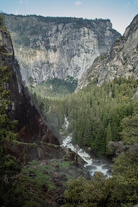 View down Merced river canyon from the top of Vernal Falls.