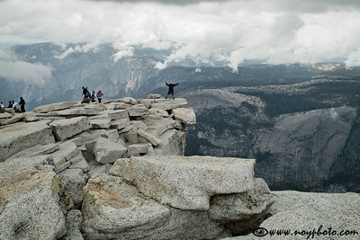 This is the famous overhang on the Half Dome called the Visor.  Note the rain cloud that is quickly coming in.
