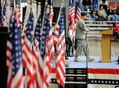 2/12/2011 Mike Orazzi | Staff Col. John Whitford, Director of Communications, Connecticut National Guard welcomes home the approximately 600 soldiers from the 1st Battalion, 102nd Infantry Regiment, headquartered in New Haven honored in a formal welcome home ceremony at the William A. O'Neill Armory in Hartford on Saturday, February 12, 2011.