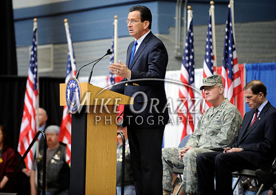 2/12/2011 Mike Orazzi | Staff Connecticut Governor Dannel P. Malloy welcomes home the approximately 600 soldiers from the 1st Battalion, 102nd Infantry Regiment, headquartered in New Haven honored in a formal welcome home ceremony at the William A. O'Neill Armory in Hartford on Saturday, February 12, 2011.