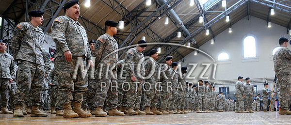 2/12/2011 Mike Orazzi | Staff Some of the approximately 600 soldiers from the 1st Battalion, 102nd Infantry Regiment, headquartered in New Haven honored in a formal welcome home ceremony at the William A. O'Neill Armory in Hartford on Saturday, February 12, 2011.