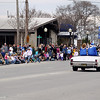 Record-Eagle/Keith King<br /> Spectators line Cedar Street in Kalkaska as the National Trout Festival King and Queen are driven past Saturday, April 30, 2011 during the Great Lakes Energy Grand Royale Parade.