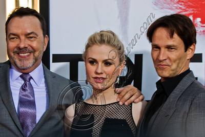 "HOLLYWOOD, CA - MAY 30:  Creator Alan Ball, actress Anna Paquin and actor Stephen Moyer attend HBO's ""True Blood"" Season 5 Los Angeles premiere at ArcLight Cinemas Cinerama Dome on May 30, 2012 in Hollywood, California.  (Photo by Chelsea Lauren/WireImage)"
