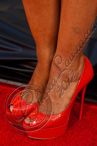"HOLLYWOOD, CA - MAY 30:  Actress Janina Gavankar (shoe detail) attends HBO's ""True Blood"" Season 5 Los Angeles premiere at ArcLight Cinemas Cinerama Dome on May 30, 2012 in Hollywood, California.  (Photo by Chelsea Lauren/WireImage)"