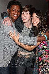 HOLLYWOOD, CA - JUNE 02:  Actors Trevor Jackson, Noah Crawford and Samantha Boscarino (R) attend Truheart Events' 1st Annual Wonderland Suite benefiting Children's Hospital Los Angeles at Tru Hollywood on June 2, 2012 in Hollywood, California.  (Photo by Chelsea Lauren/WireImage)