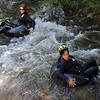 Christina Allen, left, and Jeff Kagan, float down Boulder Creek at Eben Fine as part of  their tube to work  event.<br /> Cliff Grassmick / June 25, 2010